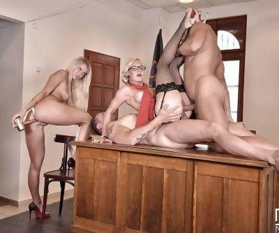 Euro secretaries Helena Valentine & Aisha get double fucked in office 4some