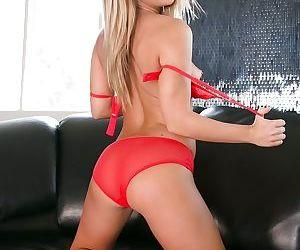 Mom blonde Carter Cruise slowly undressing her red lingerie