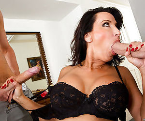 Mommy Lezley Zen fucks with this young dick and swallows tasty sperm
