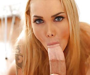 Hot blonde Devon is sucking tasty balls and this big meat pipe