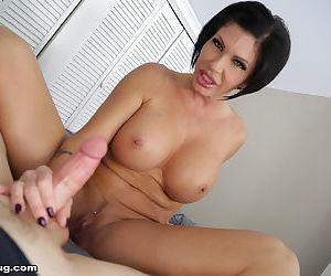Gonzo mature brunette gives a perfect handjob and deepthroats a big wang