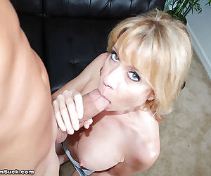 Close ups of mature blonde delivering a CFNM themed blowjob