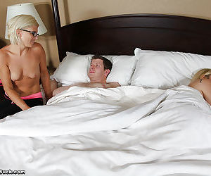 Nasty mom goes down on a cock for some cum while her daughter sleeping