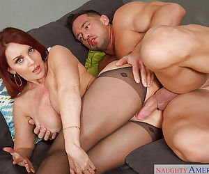Mom in stockings Janet Mason is showing off her banging skill