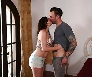 Brunette mom Sovereign Syre deepthroats dick in boots for cumshot in mouth