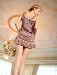 Skinny young teen Mila F hiking modeling nude after shedding dress