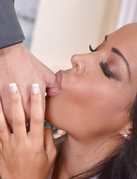 Gorgeous brunette Layla Sin is forced to crawl on hands in knees