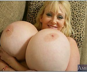 Fat mom in stockings Kayla Kleevage brings out huge juggs and fucks