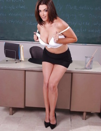 Teacher Charlie James is getting naked and playing with her tits