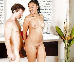 Naughty ebony mommy Yasmine de Leon taking white dick doggystyle