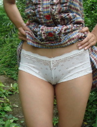 Asian teen flashes her panties to hitch ride but on condition she masturbates