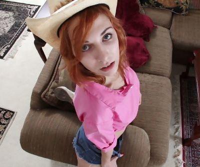 Redheaded amateur teen Nancy Reid baring saggy young girl breasts