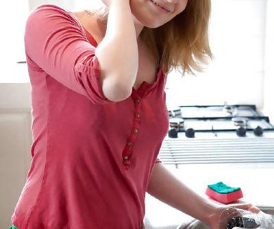 Big tit blonde amateur Noa getting nasty on the kitchen floor