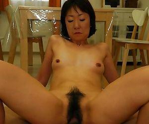 Asian MILF Yukiko Ishii gets her hairy slit vibed and boned-up