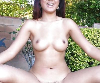 Hairy Asian babe Asia wants to show us her little pierced clit