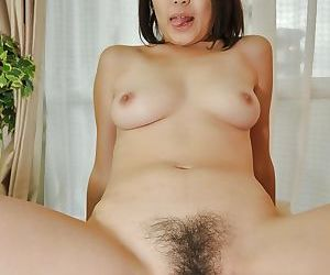 Asian slut Aya Nakano gets her hairy gash cocked up and creampied