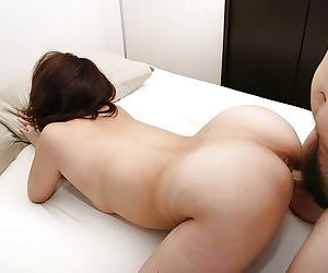 Saucy asian MILF Rika Okabe gets hairy slit vibed and cocked up