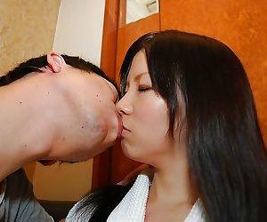 Teenage asian cutie Ami Nagashima gives a sensual blowjob with ball licking