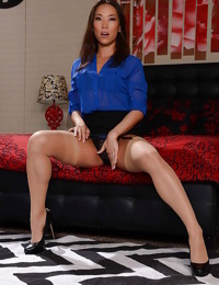 Asian model Kailna Ryu solo girl posing in skirt and pantyhose