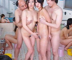 Young Japanese girls Asakura Kotomi & Jun Sena parade nude for oldman orgy