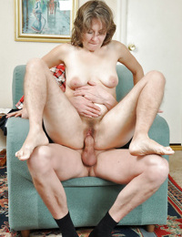 Hairy mature woman Olga riding cock and taking cumshot on pussy