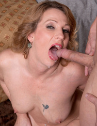 Hot mom Kacee Harley gets tempted by a younger dude and enjoys head fucking