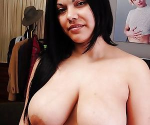 Big tits fatty Trinity shows off her natural big tits in close up