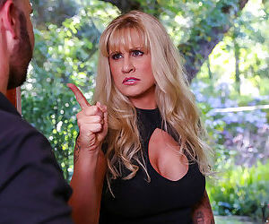 Blonde cougar Ryan Conner shrieks at the site of huge boner on young man
