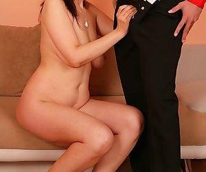 Naked older broad Fernanda Jones taking cumshot on tits after giving blowjob