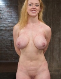 Busty blonde Dee Williams is tied up and the man brings a vibrator into play