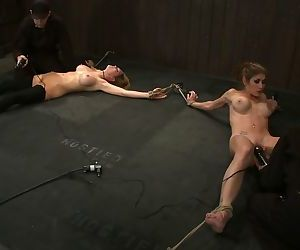 Feleony and other girls are tied up while receiving pleasure from sex toys