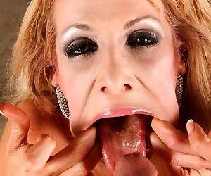 Sensational flexible MILF Mikki Lynn swallowing a big cock in facial POV scene