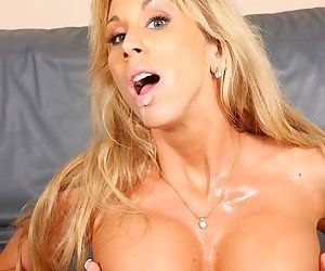 Busty wife Morgan Ray blows off and fucks her sons black friend