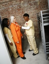 Platinum blonde white girl is turned lesbian in jail by two black girls