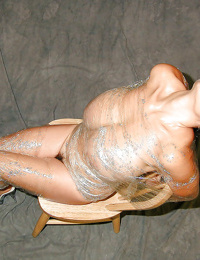 French MILF Chloe Vevrier frees arm from saran wrapping to finger hairy cunt