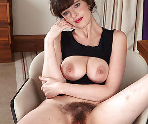 Leggy mature solo girl spreading hairy snatch after panty removal