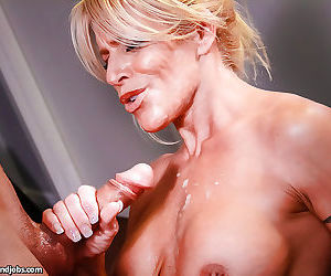 Sultry blonde mom jerks and blows a young cock for jizz on her rack