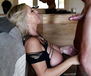 Blond housewife Sandra Otterson gets cum in hair and eyes while pleasing hubby
