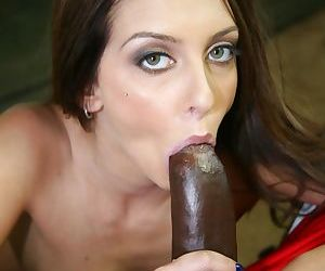 Incredible brunette petite Stephanie Cane gets to suck a big black cock
