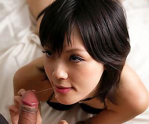 Japanese beauty Yuuki Ryo gently sucks the sperm from a cock