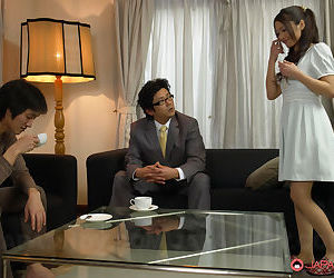 Japanese female Aoi Miyama spreading for cock and displaying pussy creampie