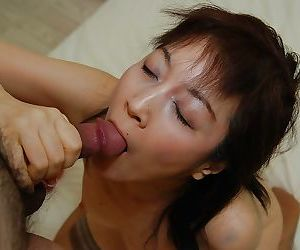 Asian MILF Shinobu Yabe gives head and gets her hairy pussy cocked up