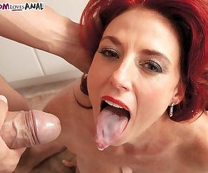 Hot older redhead Karen Kougar goes ass to mouth with her younger fuck buddy