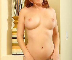 Amateur redhead mature mom flashes sexy upskirt & strips thong panties