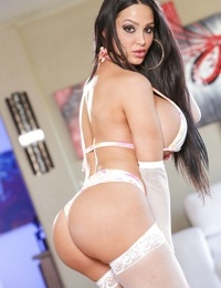 Stunning raven-haired starlet with giant tits Amy enjoys stripping