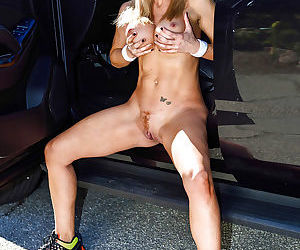 Blonde mom Parker Swayze letting big tits loose from tennis outfit outdoors
