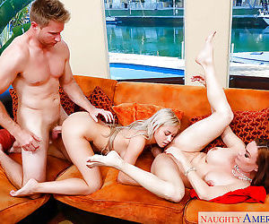 Mom Marsha May and her sister are sucking this pretty big wiener