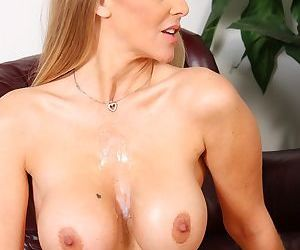 Mature lady Julia Ann has her big tits groped by black man before they fuck