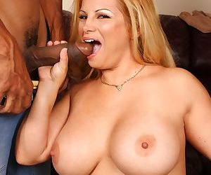 Thick blonde chick with large breasts fucks 3 huge black dicks at once