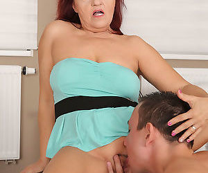 Horny mom Natalia Muray gets deep shaved pussy penetration after sucking cock